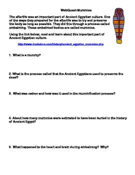 Mummies - Ancient Egypt - Webquest