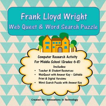 Webquest Scavenger Hunt - Learning about Frank Lloyd Wright