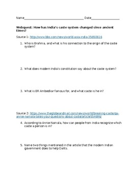 Webquest: The Caste System in Modern India