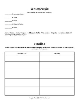 """Webquest Worksheet for """"Race: The Power of an Illusion"""""""