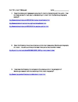 Webquest for Sandburg's Lincoln biography