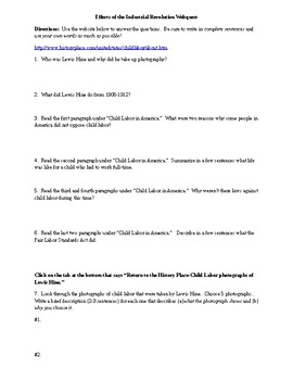 Webquest on Effects of the Industrial Revolution