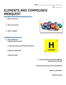 Webquest on Elements and Compounds