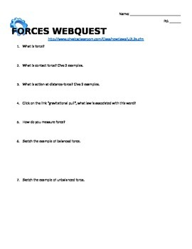 Webquest on Force