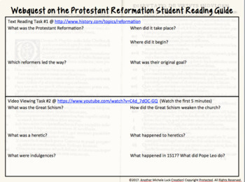 Webquest on the Protestant Reformation PDF, Digital, or Google Drive Classroom