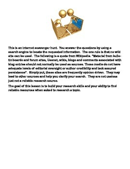 Colonial America-Webquest or Internet Scavenger Hunt