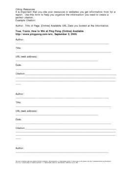 Website Citation Worksheet by Travis True | Teachers Pay Teachers