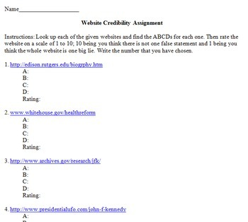Website Credibility Worksheet by Core Learning and Knowledge | TpT
