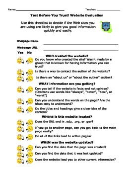 Elementary Technology Computer Science Website Evaluation Checklist