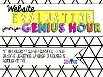 Website Evaluation Form for Genius Hour
