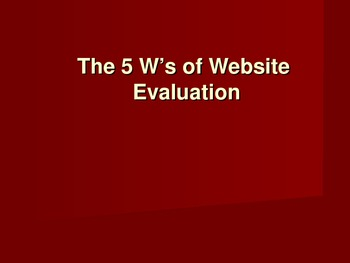 Website Evaluation PowerPoint - Research Paper and Expository Writing