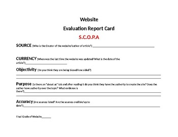 Website Evaluation Report Card
