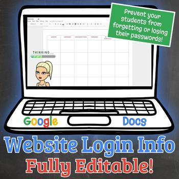 Website Login Info - Computer Technology, Google Docs Editable