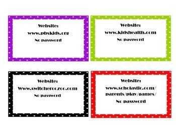 Website Organizer Cards