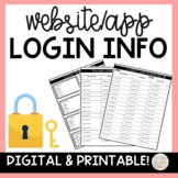 Student Login Cards and Login Password Sheets Digital and Printable