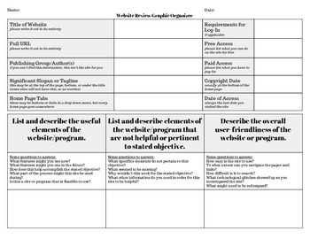 Website/Program Review, Critique Graphic Organizer or Research Worksheet