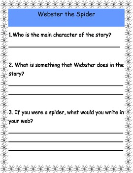 Webster the Spider Comprehension