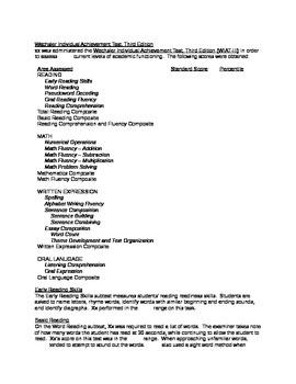 Wechsler Individual Achievement Test, Third Edition (WIAT-III) Report Shell