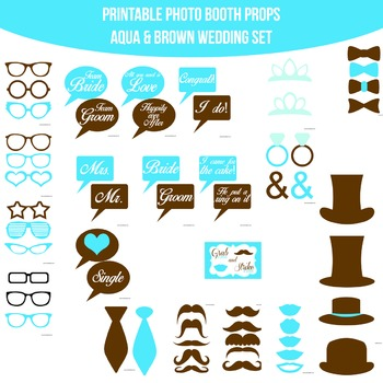 Wedding Aqua Brown Printable Photo Booth Prop Set