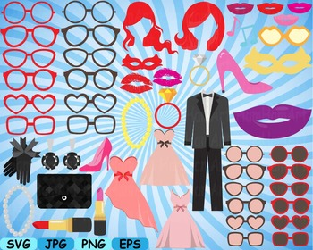 Wedding Beauty Make Up Props Party Photo Booth Birthday Clipart Sweet diy -180s