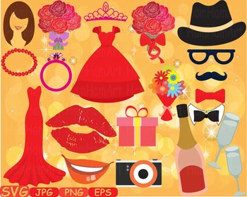 Wedding Beauty Make Up Props Party Photo Booth Birthday Clipart Sweet diy -342s