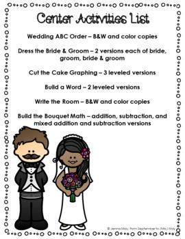Wedding, Bridal NO PREP Art, Writing, and Center Activities