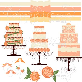 Wedding Cakes Clipart by Poppydreamz