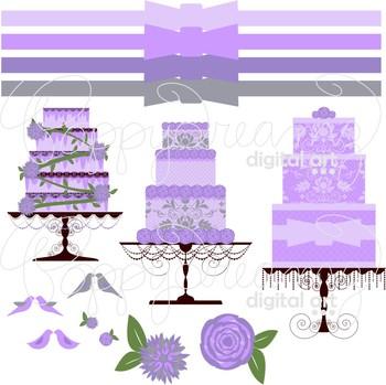 Wedding Cakes Lavender Clipart by Poppydreamz