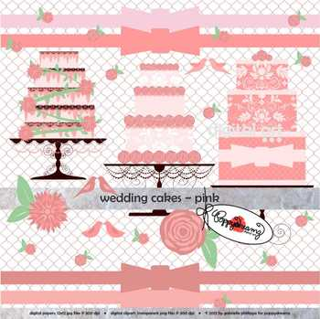 Wedding Cakes Pink Clipart by Poppydreamz