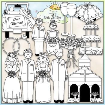 Wedding Day Clip Art - Bride & Groom Clip Art - CU Clip Art & B&W