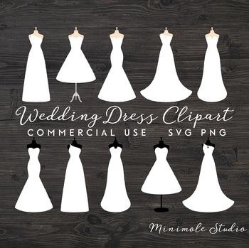 Wedding Dress Clipart, Wedding SVG PNG, Prom Dress, Fashion