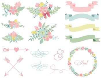 Wedding Floral Clip Art Digital Flower Wreath Floral Frame Arrow Ribbon Banner