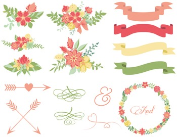 Wedding Floral Clip Art Digital Flower Wreath Floral Frame Arrow Ribbon Banner