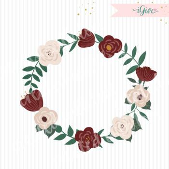 Wedding Floral Clip art - Burgundy - Beige