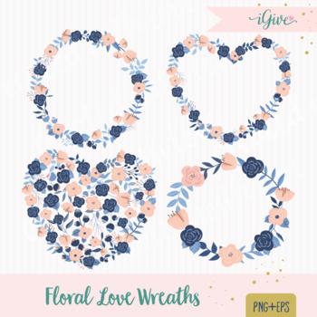Wedding Floral Clipart - Navy Pastel Peach