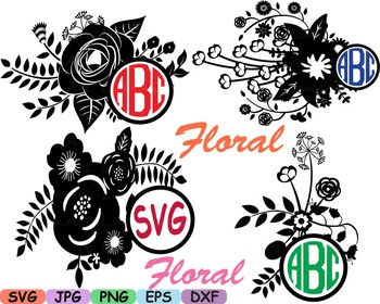 Wedding Flowers Circle Logo Vintage Floral Invitation Cutting clip art abc -18sv