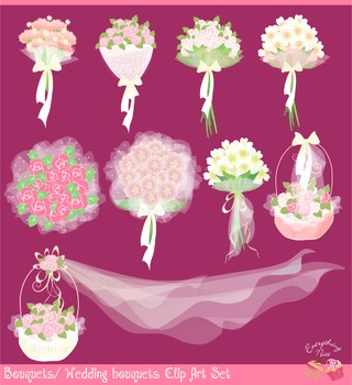 Wedding Flowers Florals Bridal Flowers Clipart Set