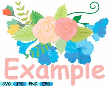 Wedding Flowers Invitation clip art floral roses Banners valentine Spring -351s