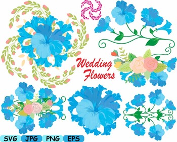Wedding Flowers Invitation clip art floral roses Banners v