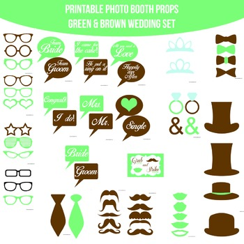 Wedding Green Brown Printable Photo Booth Prop Set