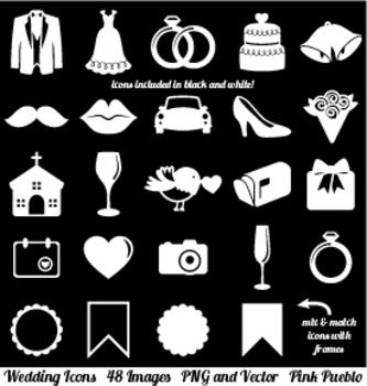 Wedding Icons Clipart Clip Art, Vintage Wedding Invitation Icons