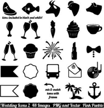 Wedding Icons Clipart Clip Art, Vintage Wedding Invitation Icons 2