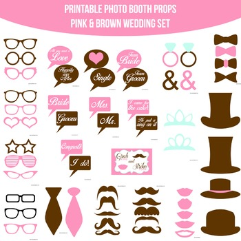 Wedding Light Pink Brown Printable Photo Booth Prop Set