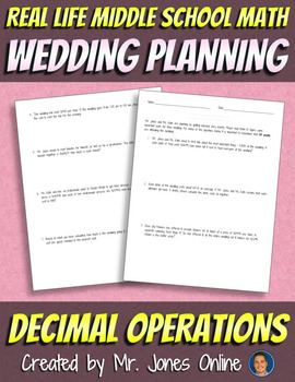 Wedding Planning Assignment: DECIMALS -  Real Life Middle