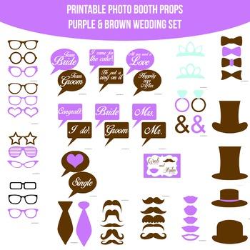 Wedding Purple Brown Printable Photo Booth Prop Set