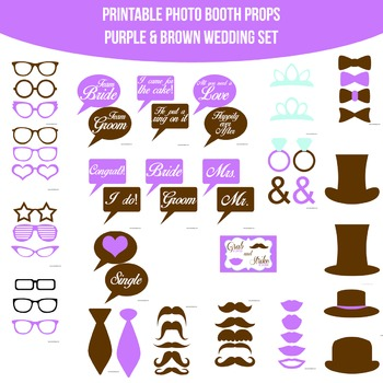 Wedding Purple Brown Printable Photo Booth Prop Set