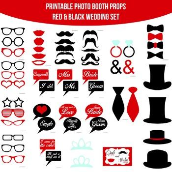 Wedding Red Black Printable Photo Booth Prop Set