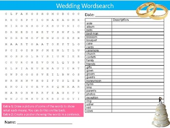 Wedding Wordsearch Sheet Starter Activity Keywords Marriage Relationships