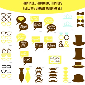 Wedding Yellow Brown Printable Photo Booth Prop Set
