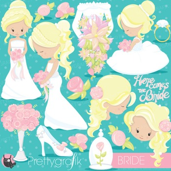 Wedding bride clipart commercial use, vector graphics, digital - CL830